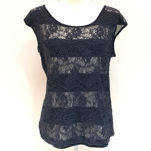 Cynthia Rowley Navy & White Top with Lace Overlay